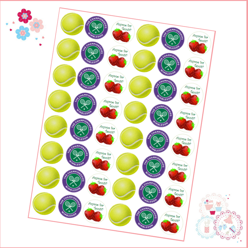 Edible Mini Cupcake Toppers x 48 - Wimbledon Championships Tennis Ball Mini