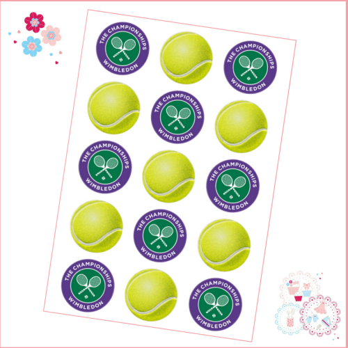 Edible Cupcake Toppers x 15- Wimbledon Tennis Ball Cupcake Toppers