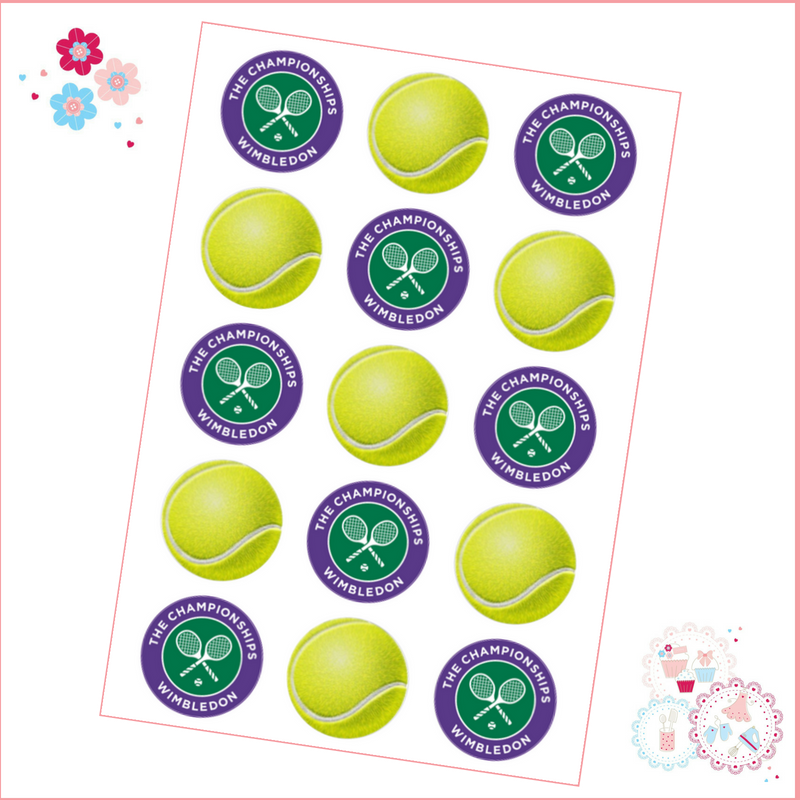 Edible Cupcake Toppers x 15- Wimbledon Tennis Ball Cupcake Toppers