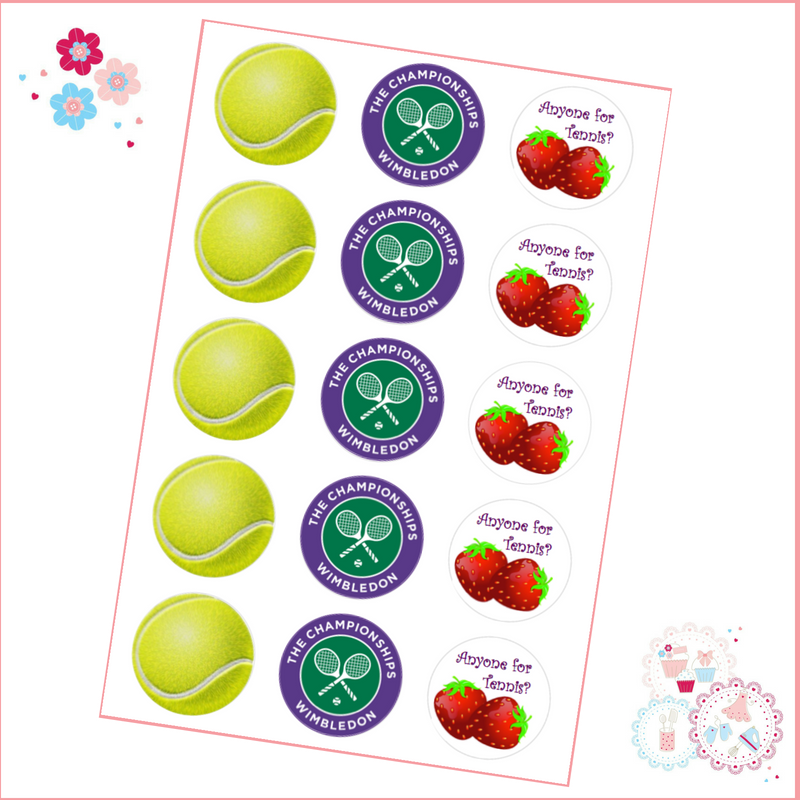 wimbledon tennis cupcake toppers tennis ball championships strawberries and