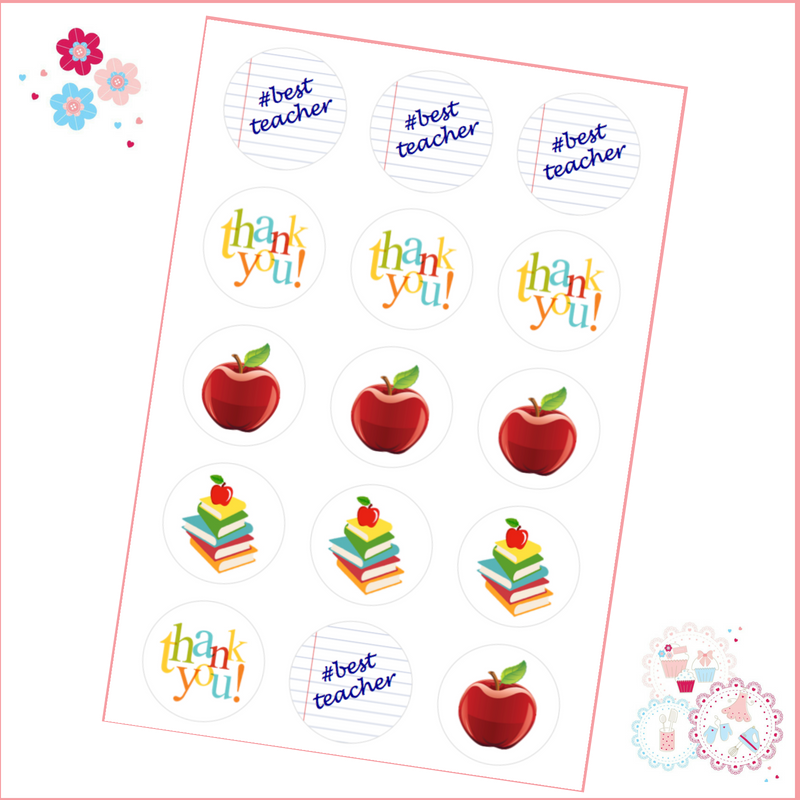 thank you teacher cupcake toppers note paper apples books 15