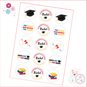 Edible Cupcake Toppers x 15 - Graduation themed toppers, red yellow and blue