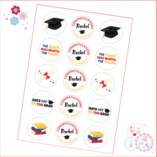 Edible Cupcake Toppers x 15 - Graduation themed toppers, red yellow and blu