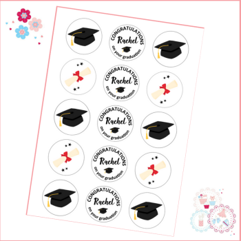 Edible Cupcake Toppers x 15 - Graduation themed toppers, black and red