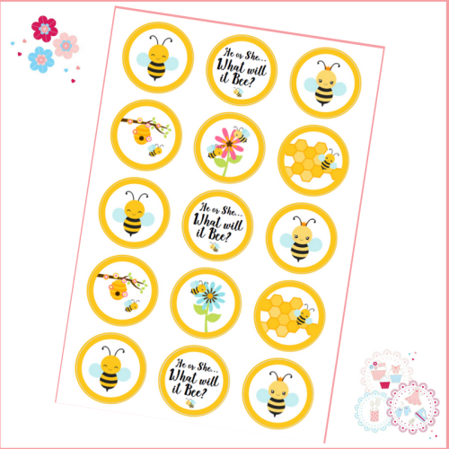 Edible Cupcake Toppers x 15 - Gender Reveal - What will it Bee?