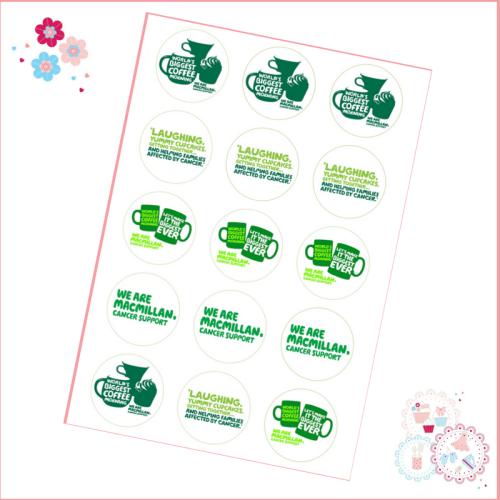 Edible Cupcake Toppers x 12 - Charity Macmillan Coffee Morning Theme