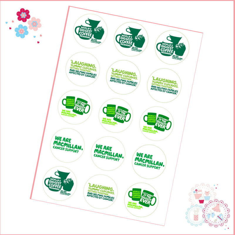 Edible Cupcake Toppers x 12 - Charity Macmillan Coffee Morning Theme