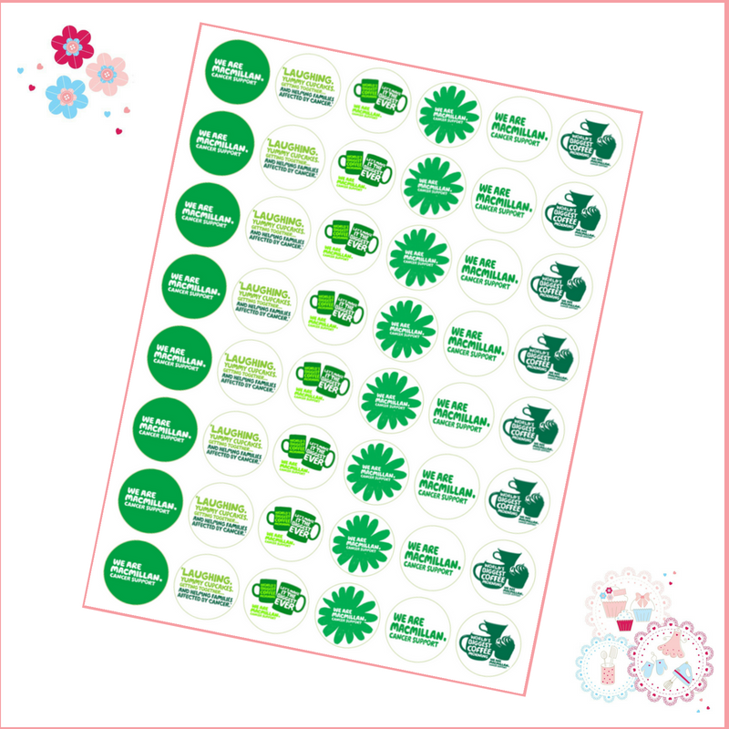 Edible Mini Cupcake Toppers x 48 - Charity Macmillan Coffee Morning Theme
