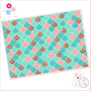 Mermaid scales pattern A4 Edible Printed Sheet - Turquoise, Peach and Rose Gold