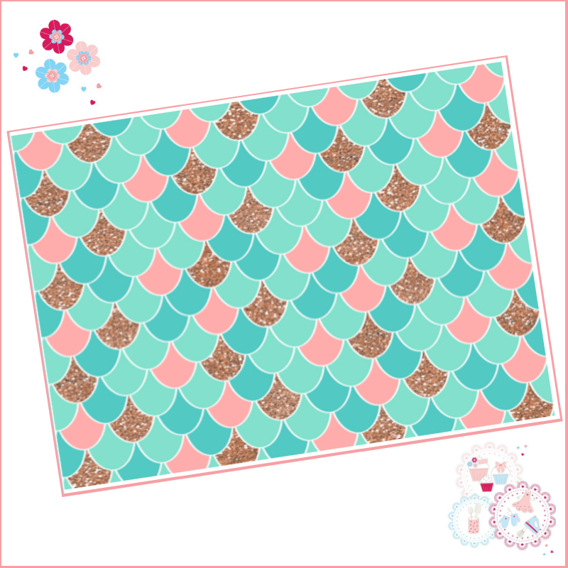 Mermaid scales pattern A4 Edible Printed Sheet - Turquoise, Peach and Rose