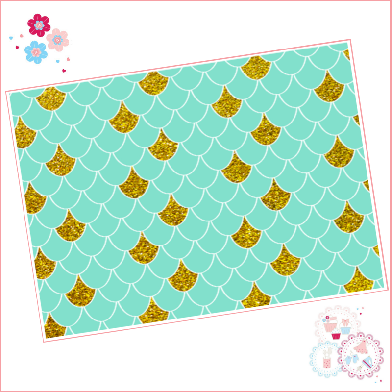 Mermaid scales pattern A4 Edible Printed Sheet - Turquoise, and Gold