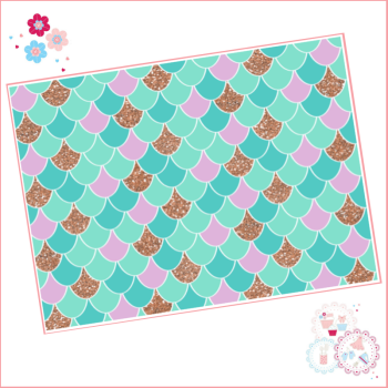 Mermaid scales pattern A4 Edible Printed Sheet - Lilac, Turquoise and Rose Gold