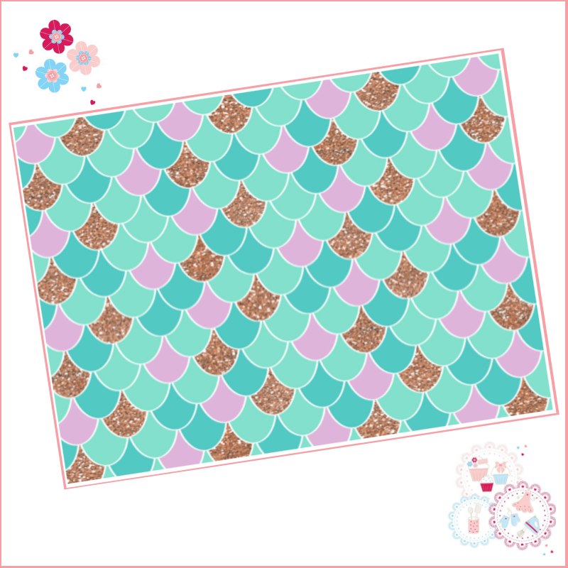 Mermaid scales pattern A4 Edible Printed Sheet - Lilac, Turquoise and Rose