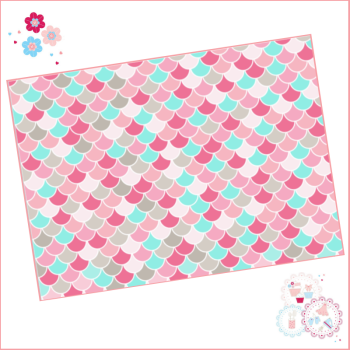 Mermaid scales pattern A4 Edible Printed Sheet - Pink and Blue