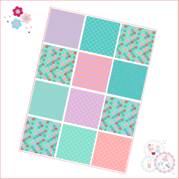 Patchwork Mermaid scales patterns A4 Edible Printed Sheet - Turquoise, Lilac and Gold