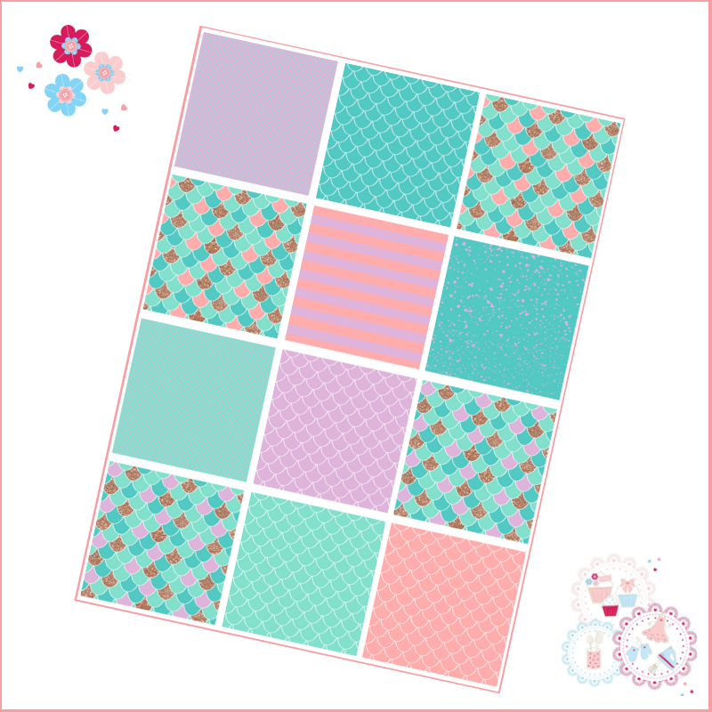 Patchwork Mermaid scales patterns A4 Edible Printed Sheet - Turquoise, Lila