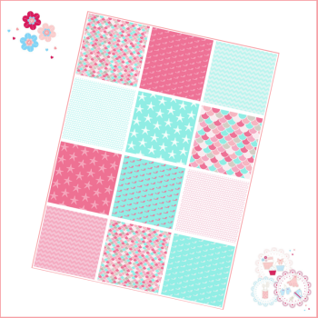 Patchwork Mermaid scales patterns A4 Edible Printed Sheet - Turquoise, and Pink