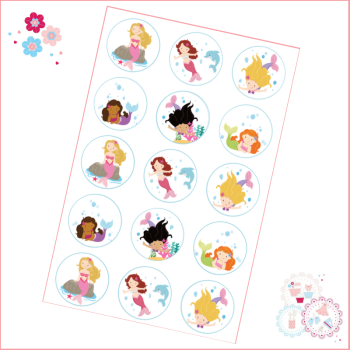Edible Cupcake Toppers x 15 - Mermaid Theme