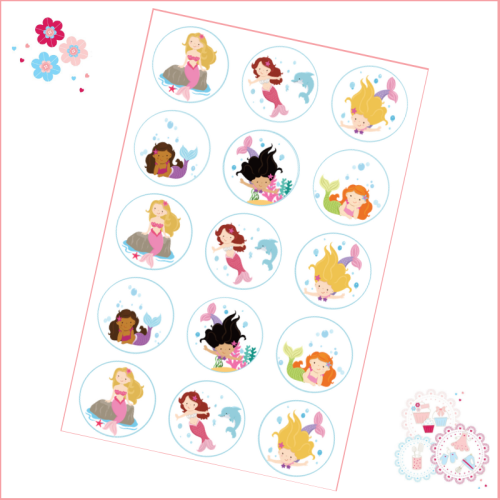 Edible Cupcake Toppers x 15 - Mermaid Theme
