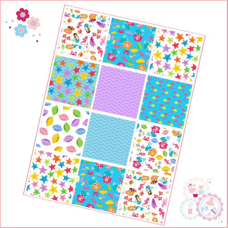 Patchwork Mermaid patterns A4 Edible Printed Sheet - bright and fun colours