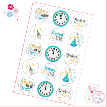 Edible Cupcake Toppers x 15 - New Year's Eve Turquoise Countdown Clock toppers