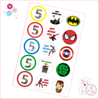 Edible Cupcake Toppers x 15 - Superhero Cupcake Toppers - personalised
