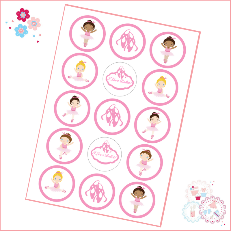 Edible Cupcake Toppers x 15 - Pink Ballet Themed Cupcake Toppers