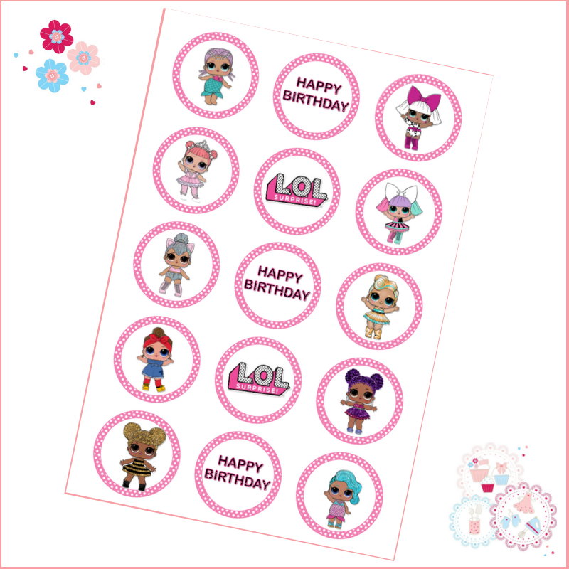 Edible Cupcake Toppers x 15 - LOL Surprise Doll Cupcake Toppers, Pink