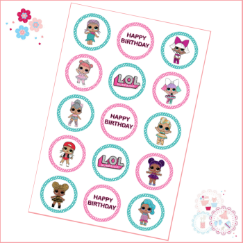 Edible Cupcake Toppers x 15 - LOL Surprise Doll Cupcake Toppers, Pink & Turquoise