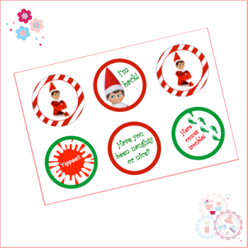 Elf on the Shelf Cupcake Toppers x 6