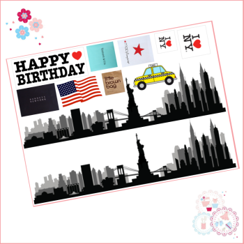 Edible Icing Sheet - New York Skyline and logos icing sheet