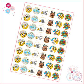 Charity Mini Cupcake Toppers x 48 - Children in Need Cupcake Toppers