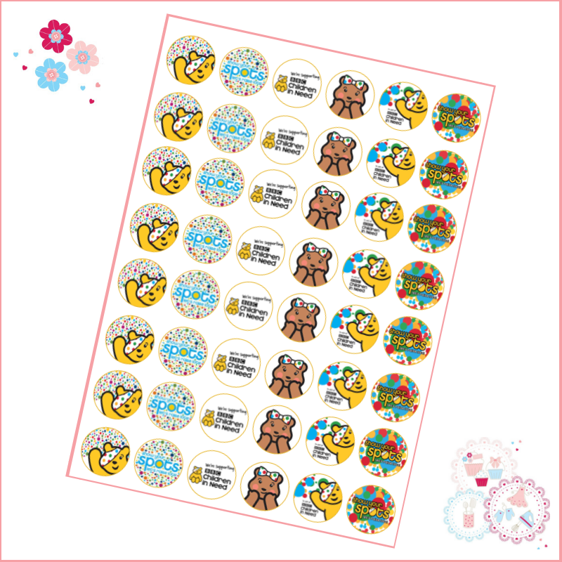 Charity Cupcake Toppers - Children in Need Theme