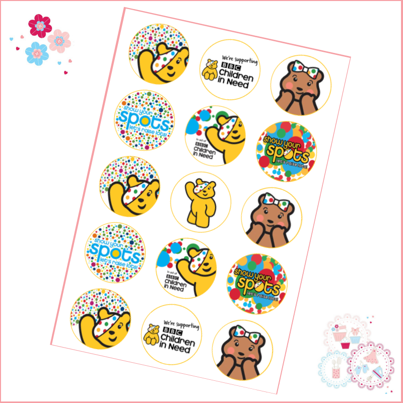Charity Mini Cupcake Toppers x 15 - Children in Need Cupcake Toppers