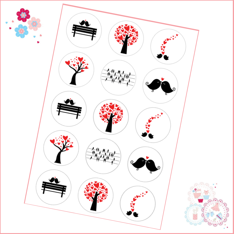 LoveBirds Black & Red Silhouette Cupcake Toppers