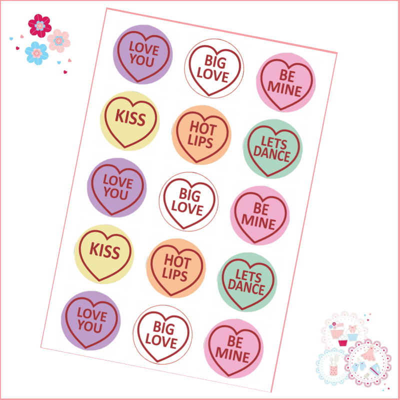 Love Heart Style Cupcake Toppers