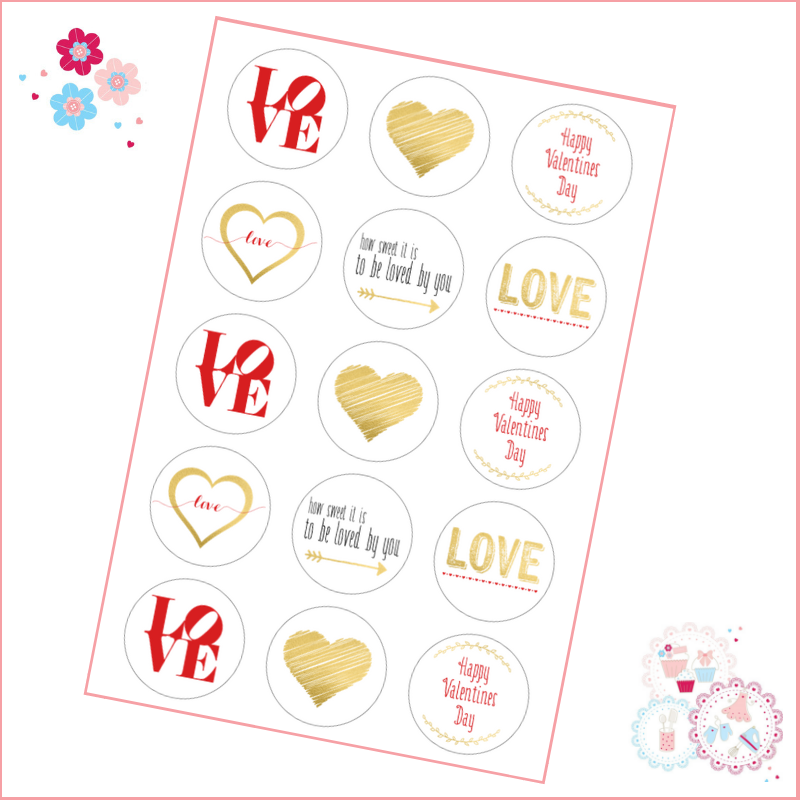 Red & Gold LOVE Cupcake Toppers