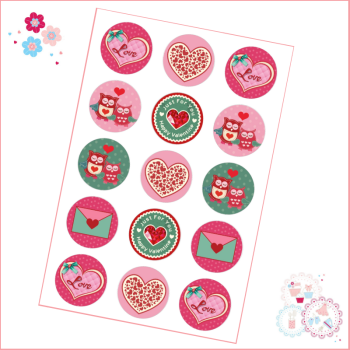 Valentine's Owl Themed Cupcake Toppers