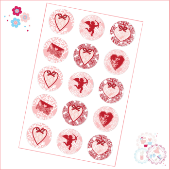 Vintage Style Valentine's Cupcake Toppers