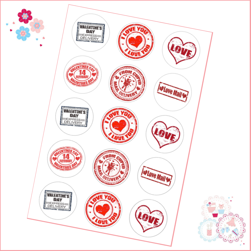 Valentine's Postmark style Cupcake Toppers