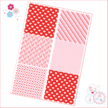 Patchwork Valentine's Patterns A4 Edible Printed Sheet - pink, red, white - 6 squares