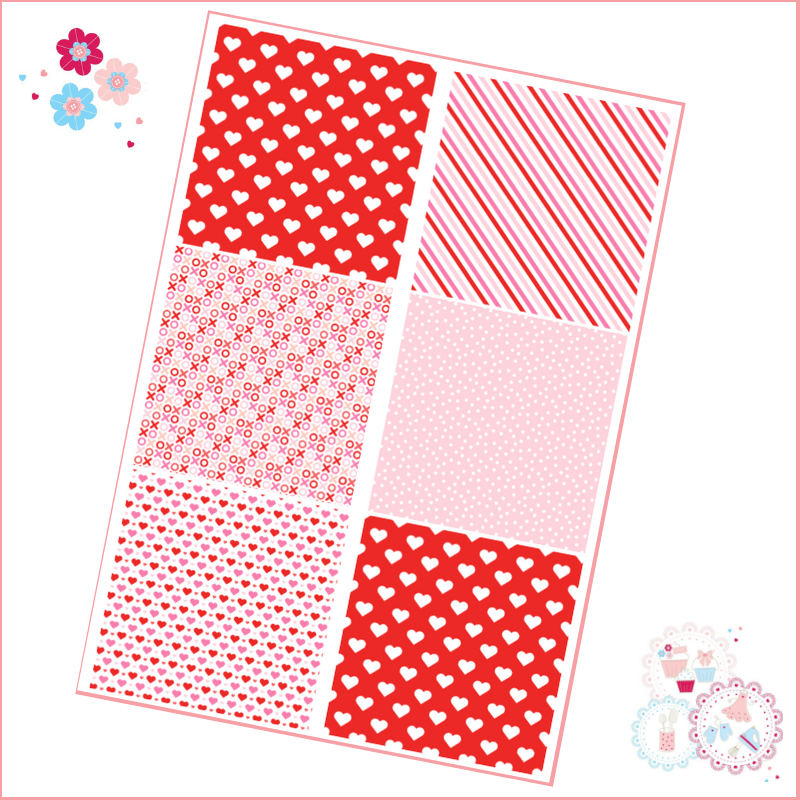 Patchwork Valentine's Patterns A4 Edible Printed Sheet - pink, red, white