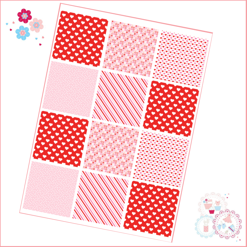 Patchwork Valentine's Patterns A4 Edible Printed Sheet - pink, red, white -
