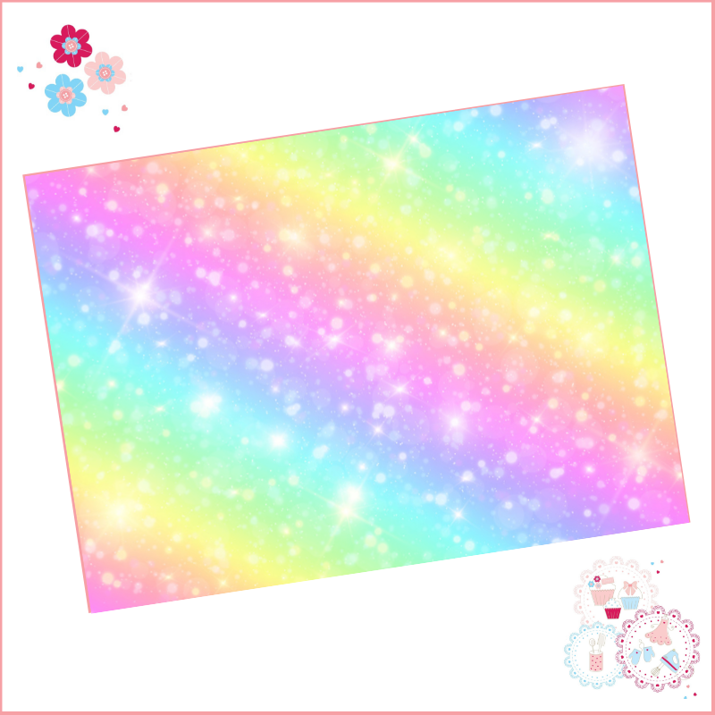 Glitter Effect Rainbow Ombre A4 Edible Printed Sheet