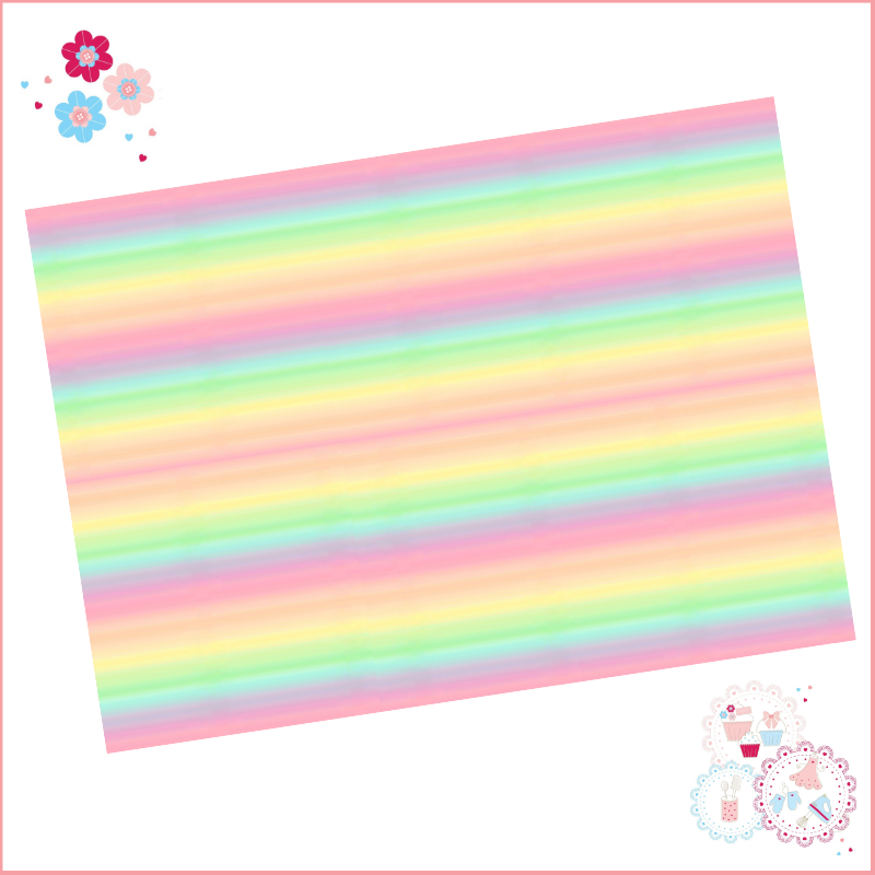 Thin Pastel Rainbow Ombre A4 Edible Printed Sheet