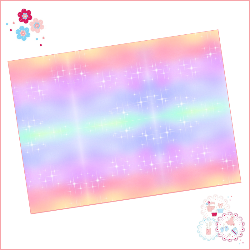 Glitter Effect Rainbow Horizontal Ombre A4 Edible Printed Sheet