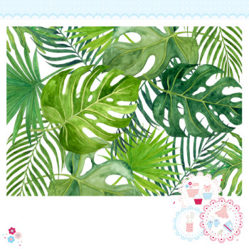 Tropical Leaves A4 Edible Printed Sheet - Mixed large tropical leaves