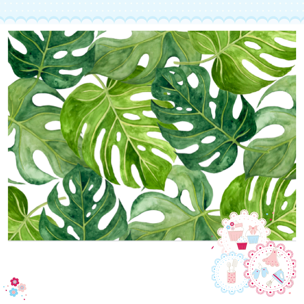 Tropical Leaves A4 Edible Printed Sheet - Large green tropical palm leaves