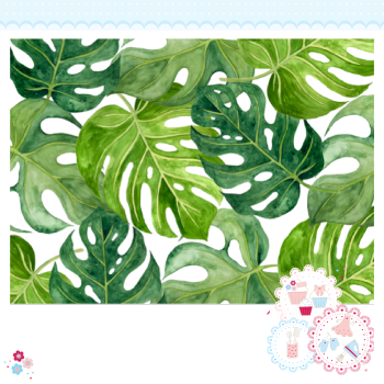 Tropical Leaves A4 Edible Printed Sheet - Large green tropical palm leaves icing sheet