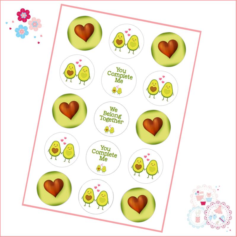 Avocado Halves Valentines Cupcake Toppers